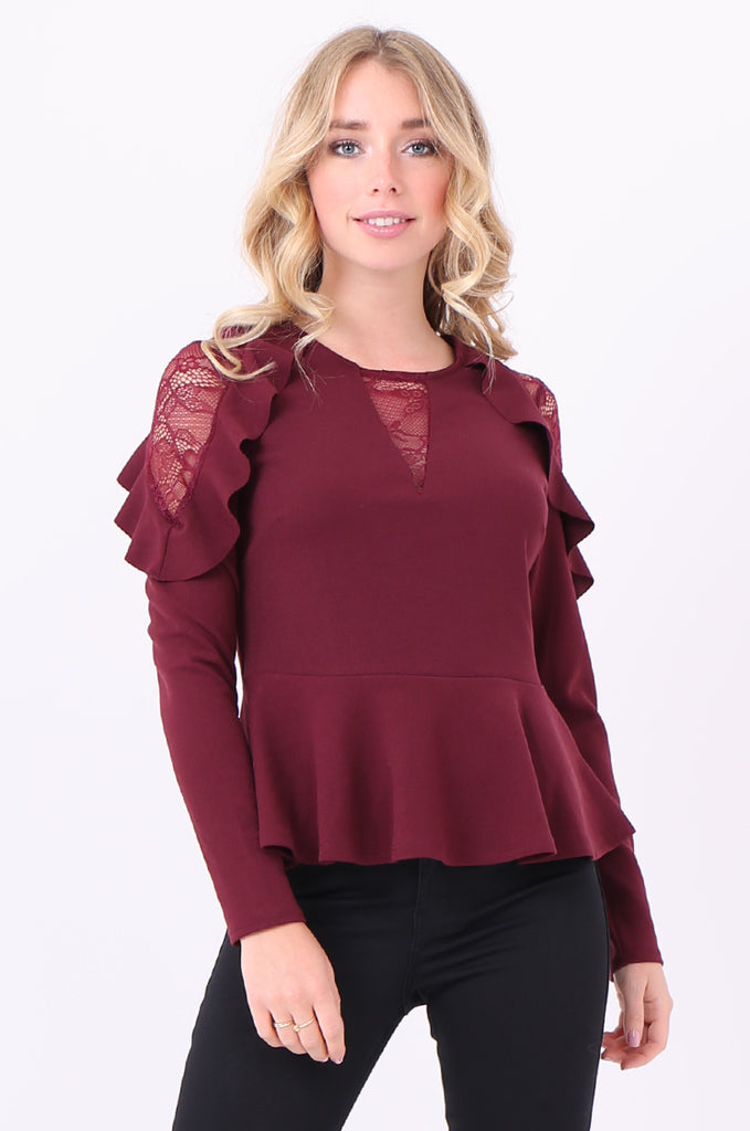 SQC2082-WINE LACE TRIM LONG SLEEVE PEPLUM BLOUSE view main view