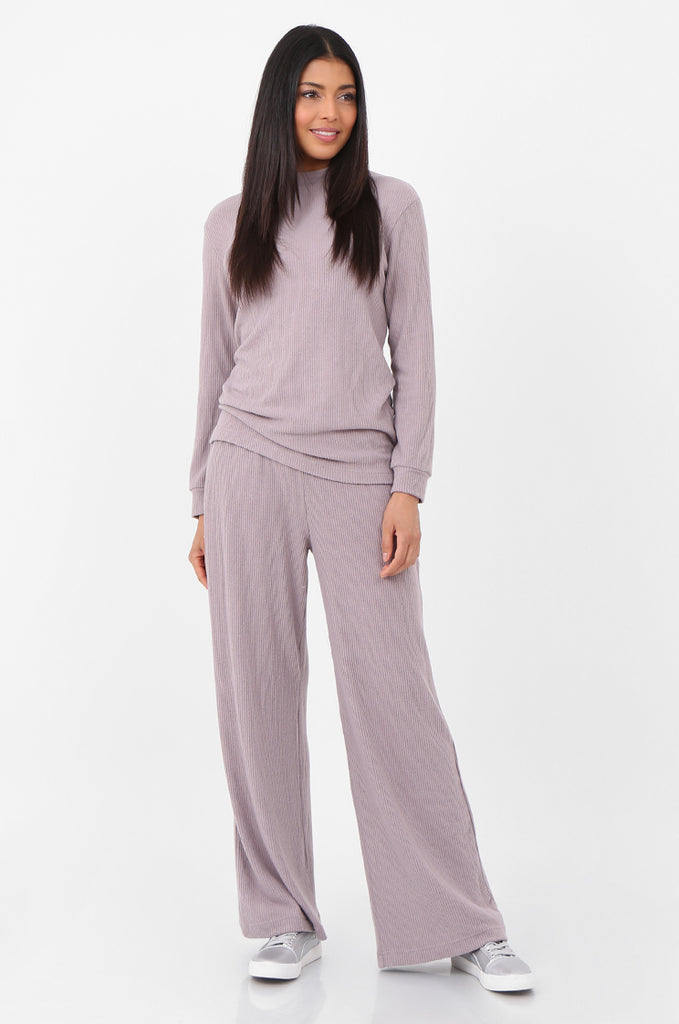 SQC2298-MAUVE RIBBED KNIT LOUNGEWEAR SET