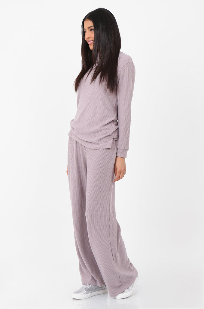 SQC2298-MAUVE RIBBED KNIT LOUNGEWEAR SET view 2