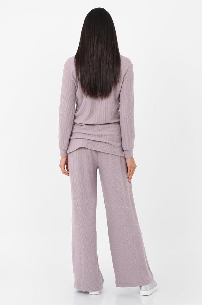 SQC2298-MAUVE RIBBED KNIT LOUNGEWEAR SET view 3