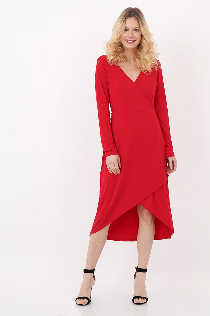 SQC2421-RED LONG SLEEVE WRAP LOOK DRESS view main view