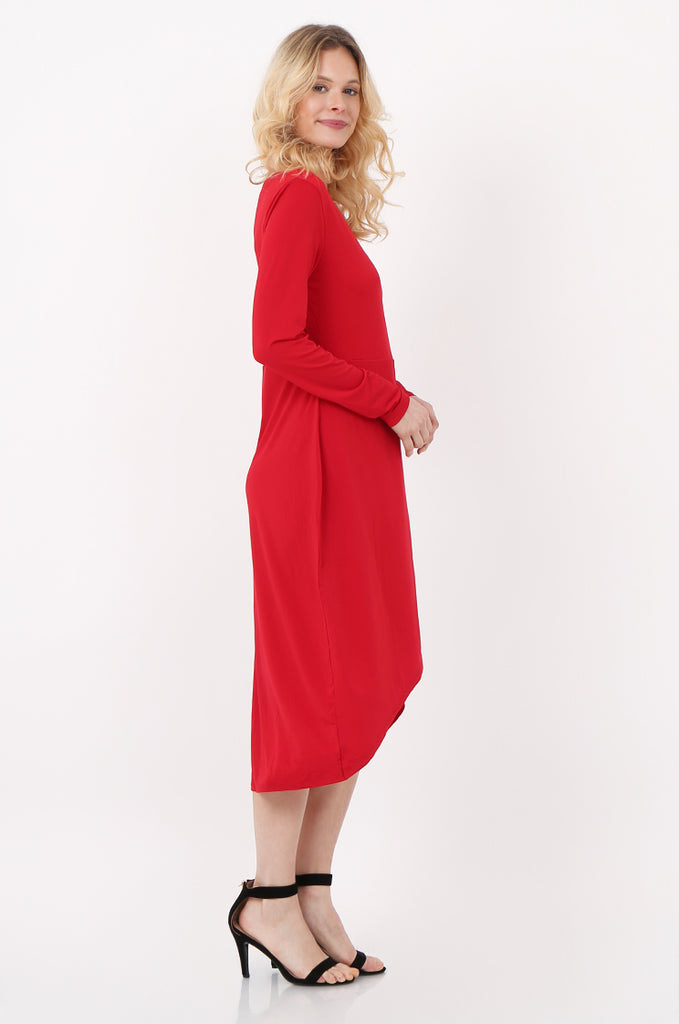 SQC2421-RED LONG SLEEVE WRAP LOOK DRESS view 2
