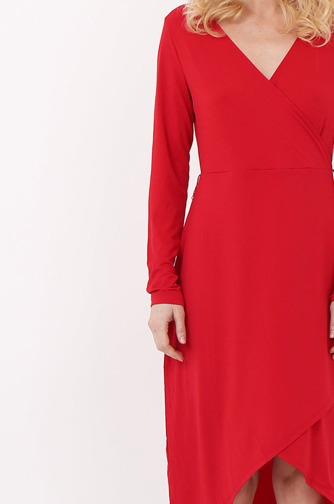 SQC2421-RED LONG SLEEVE WRAP LOOK DRESS view 4