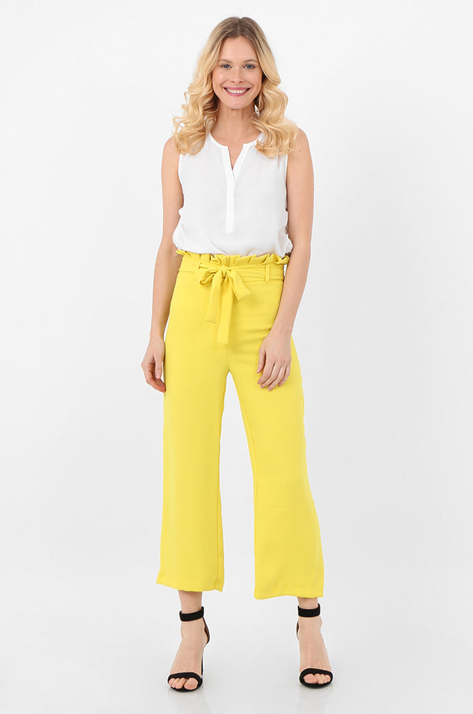 SQC2434-YELLOW BELTED PAPERBAG WAIST CULOTTES