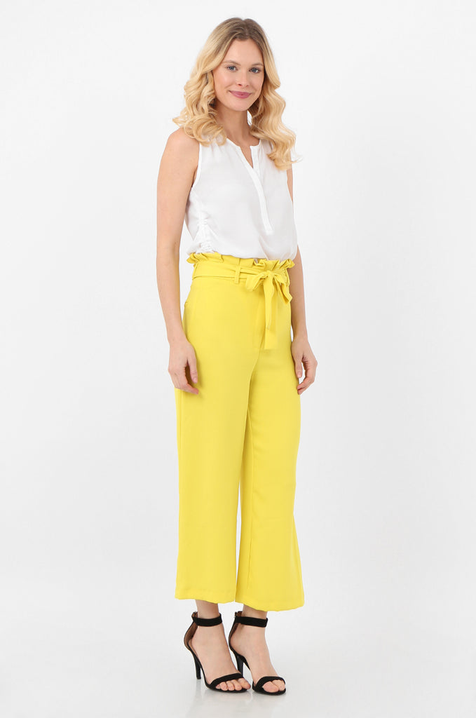 SQC2434-YELLOW BELTED PAPERBAG WAIST CULOTTES view 2