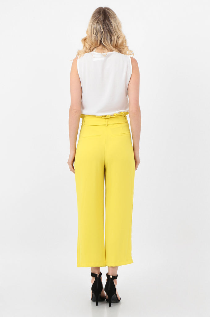 SQC2434-YELLOW BELTED PAPERBAG WAIST CULOTTES view 3