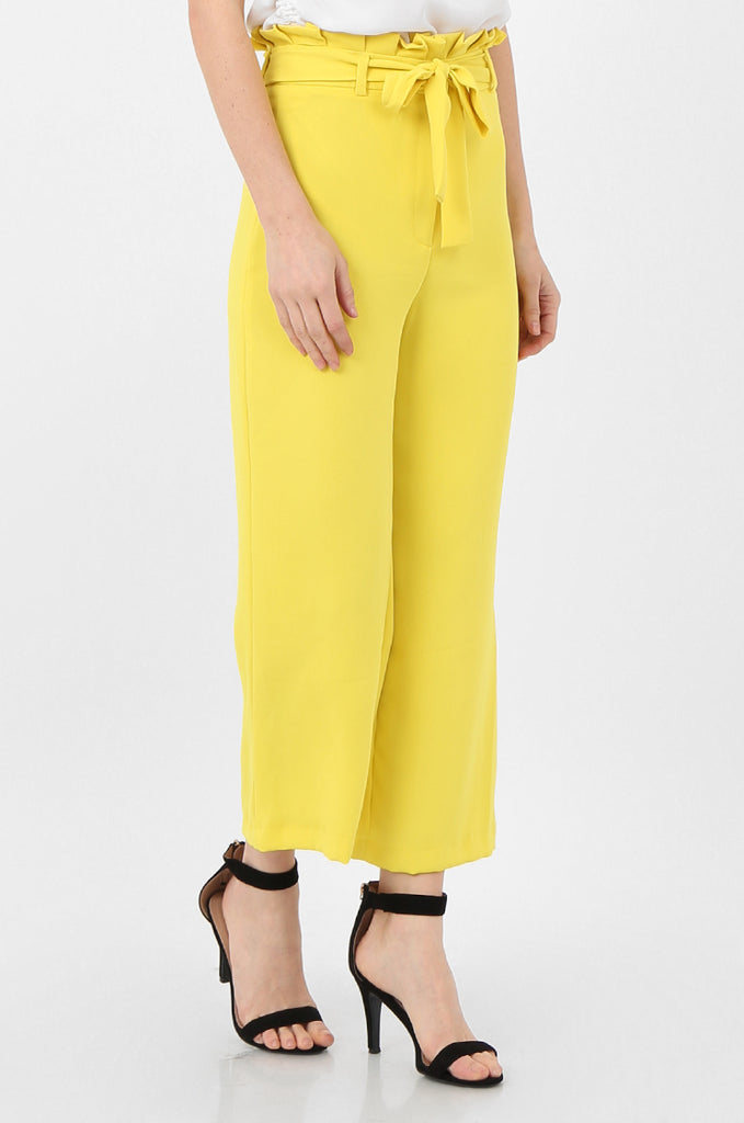 SQC2434-YELLOW BELTED PAPERBAG WAIST CULOTTES view 4