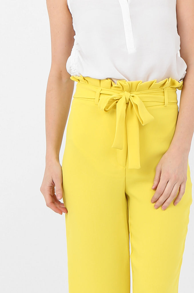 SQC2434-YELLOW BELTED PAPERBAG WAIST CULOTTES view 5