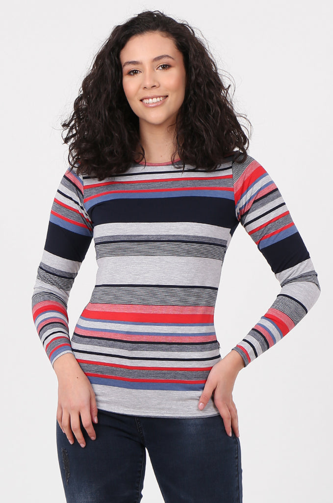 SQC2582-GREY STRIPED LONG SLEEVE TOP view main view