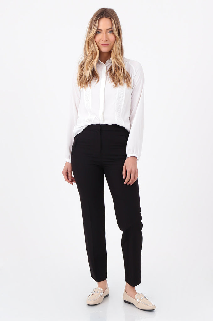 SQC2698-BLACK FRONT POCKET TAILORED TROUSERS