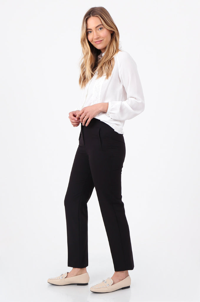 SQC2698-BLACK FRONT POCKET TAILORED TROUSERS view 2
