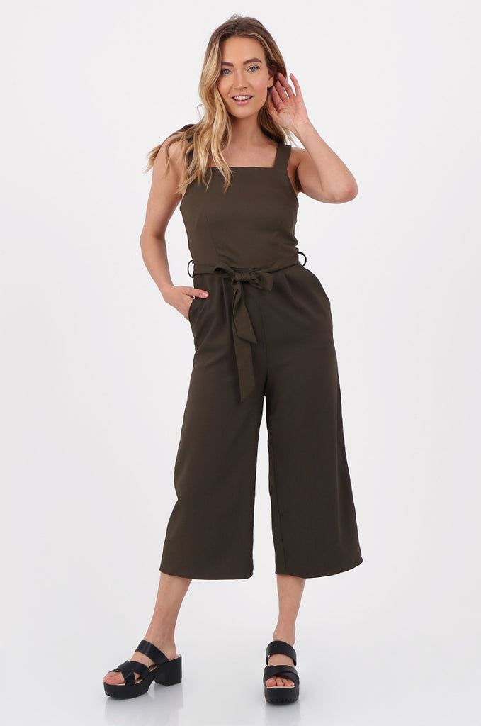 SQC2702-KHAKI SLEEVELESS BELTED WIDE LEG JUMPSUIT view main view