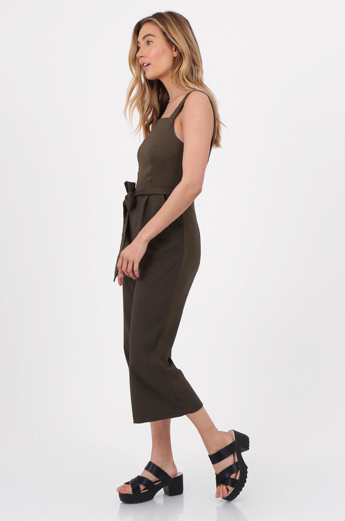 SQC2702-KHAKI SLEEVELESS BELTED WIDE LEG JUMPSUIT view 2