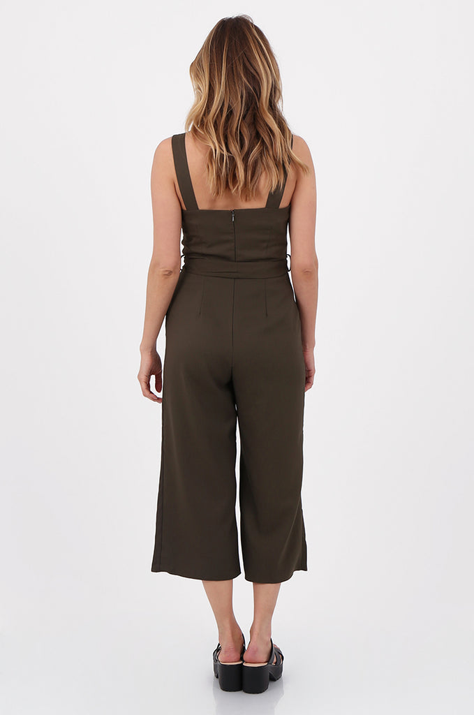 SQC2702-KHAKI SLEEVELESS BELTED WIDE LEG JUMPSUIT view 3