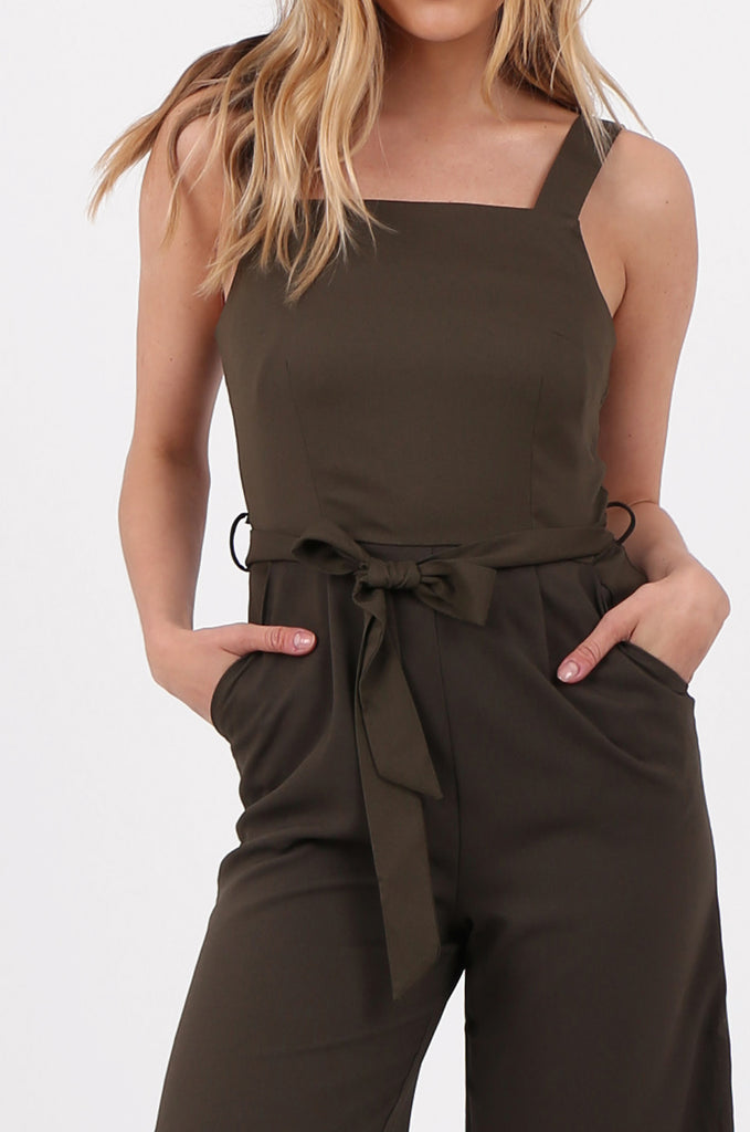 SQC2702-KHAKI SLEEVELESS BELTED WIDE LEG JUMPSUIT view 4