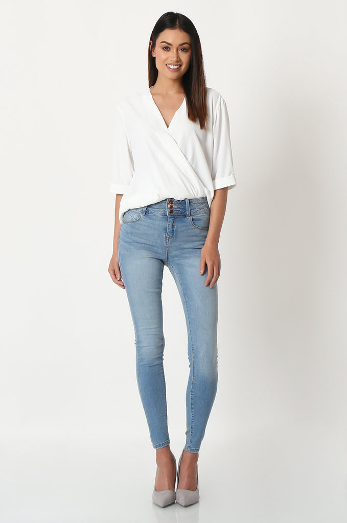 SQC2852-BLUE LIGHT WASH HIGH WAISTED SKINNY JEANS view main view
