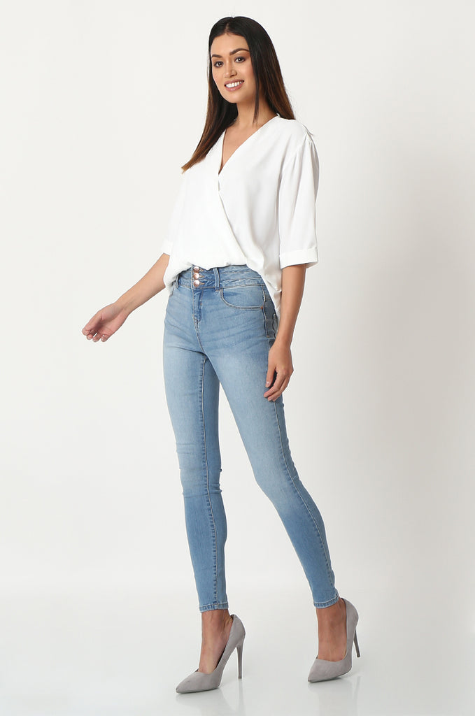 SQC2852-BLUE LIGHT WASH HIGH WAISTED SKINNY JEANS view 2