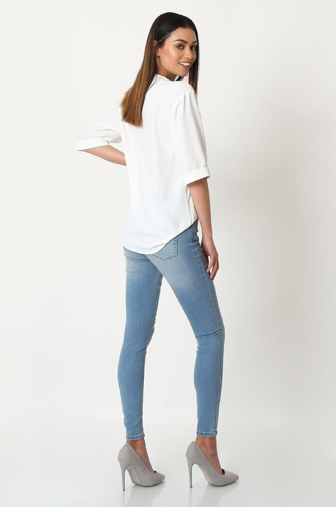 SQC2852-BLUE LIGHT WASH HIGH WAISTED SKINNY JEANS view 3