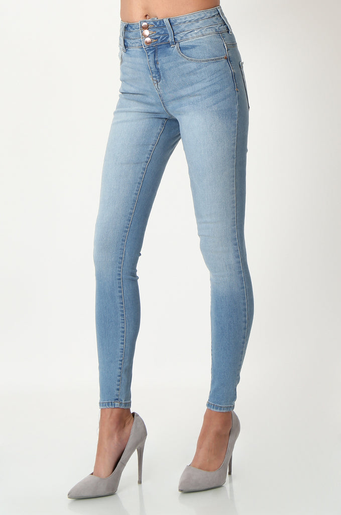 SQC2852-BLUE LIGHT WASH HIGH WAISTED SKINNY JEANS view 4