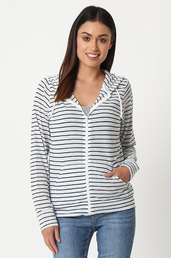 SQC2854-BLACK STRIPED LIGHT WEIGHT ZIP UP DRAWSTRING HOODIE