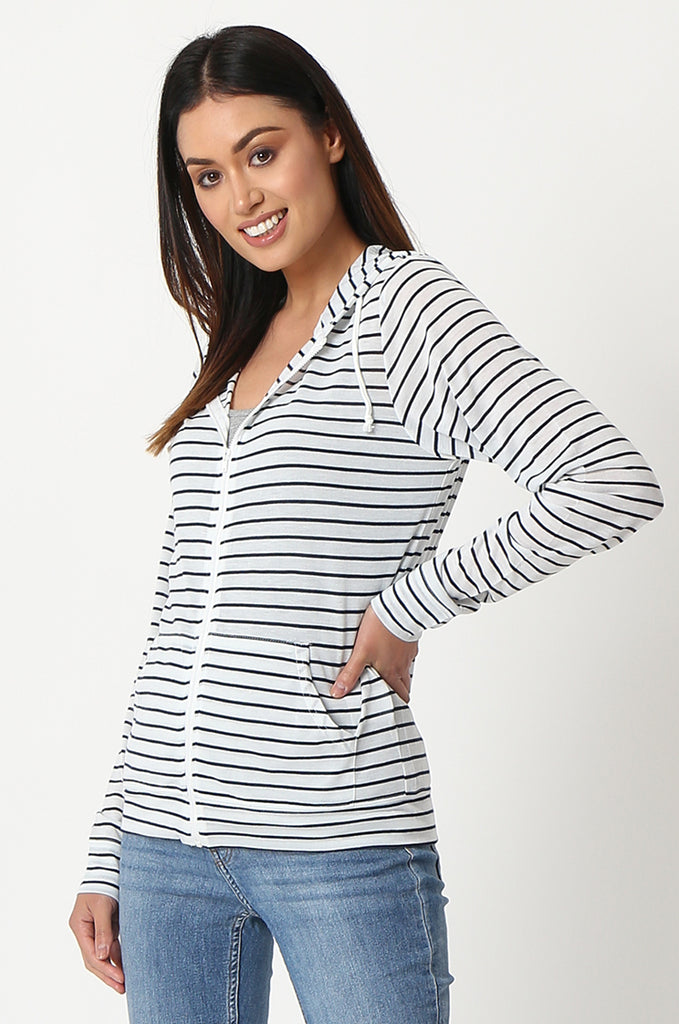 SQC2854-BLACK STRIPED LIGHT WEIGHT ZIP UP DRAWSTRING HOODIE view 2