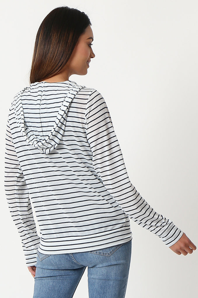 SQC2854-BLACK STRIPED LIGHT WEIGHT ZIP UP DRAWSTRING HOODIE view 3