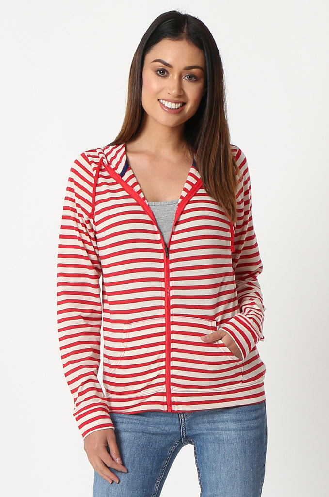 SQC2854-RED STRIPED LIGHT WEIGHT ZIP UP DRAWSTRING HOODIE