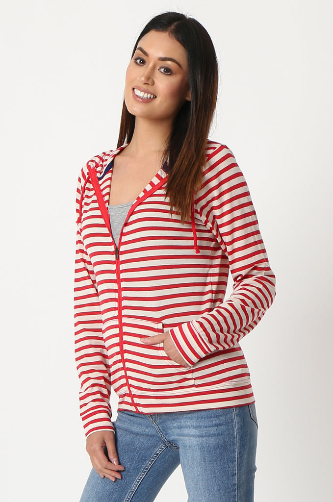 SQC2854-RED STRIPED LIGHT WEIGHT ZIP UP DRAWSTRING HOODIE view 2