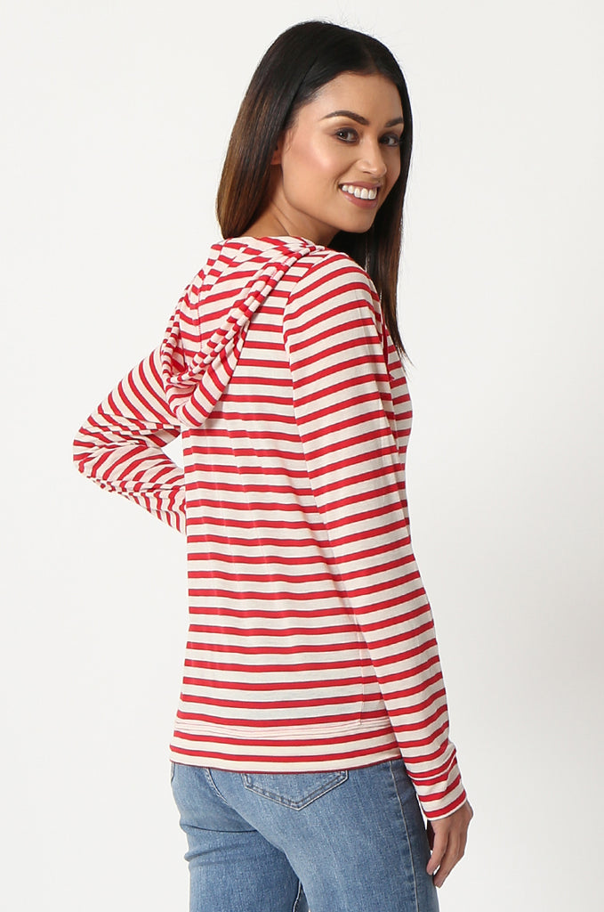 SQC2854-RED STRIPED LIGHT WEIGHT ZIP UP DRAWSTRING HOODIE view 3