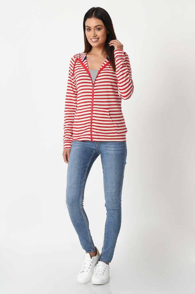 SQC2854-RED STRIPED LIGHT WEIGHT ZIP UP DRAWSTRING HOODIE view 4