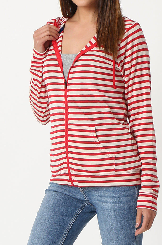 SQC2854-RED STRIPED LIGHT WEIGHT ZIP UP DRAWSTRING HOODIE view 5