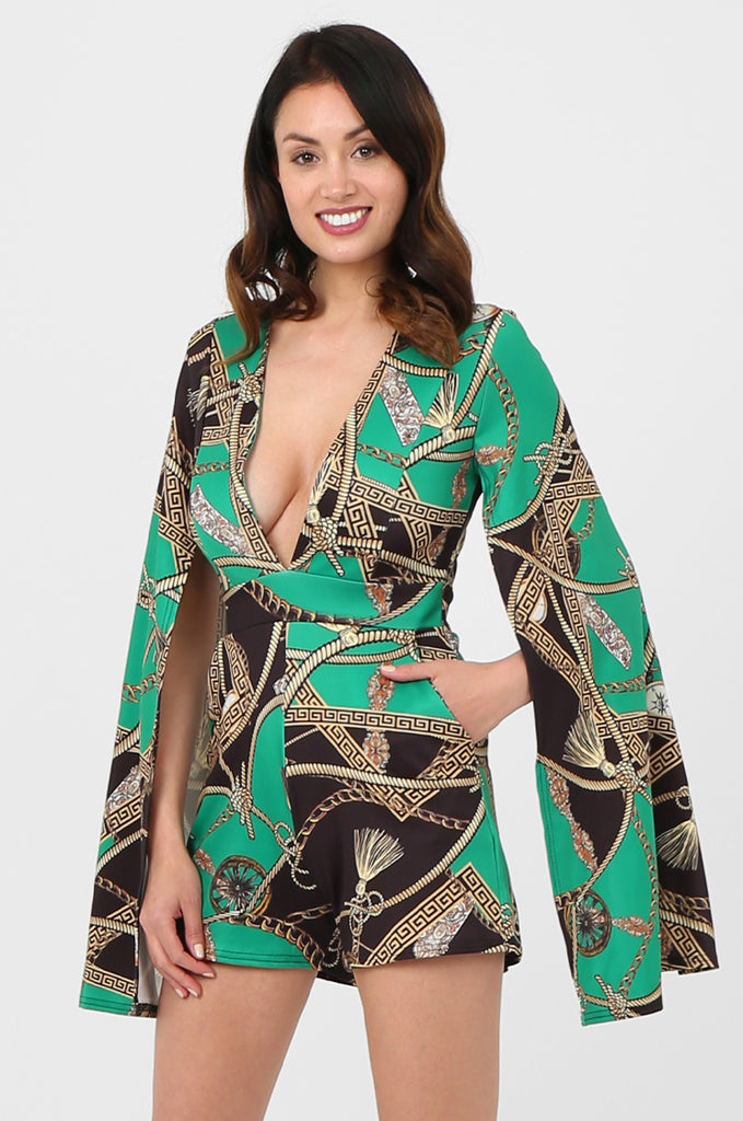 SSW2802-GREEN CHAIN PRINT SPLIT SLEEVE DOUBLE BREASTED PLAYSUIT view 3
