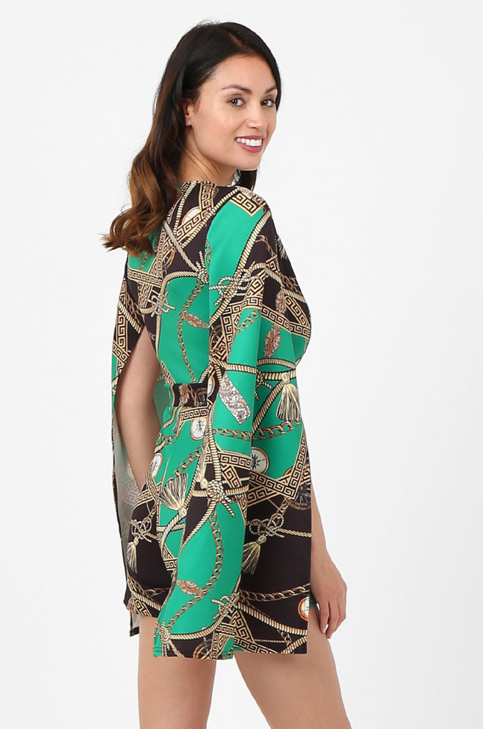 SSW2802-GREEN CHAIN PRINT SPLIT SLEEVE DOUBLE BREASTED PLAYSUIT view 4