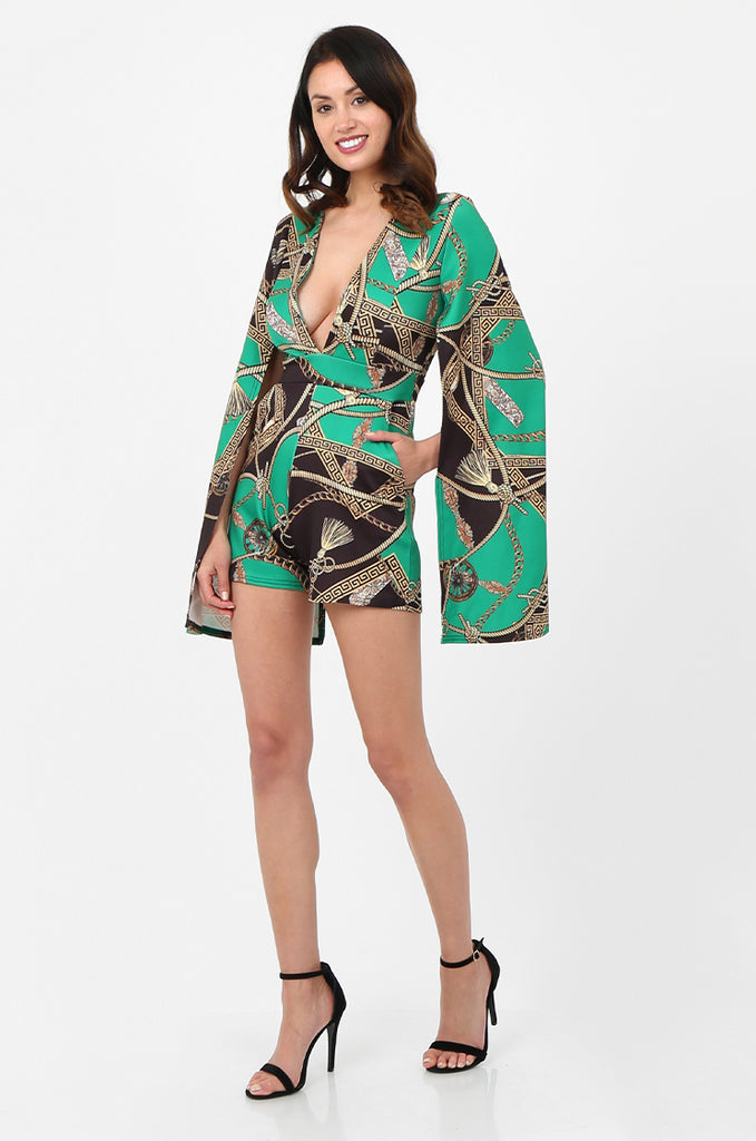 SSW2802-GREEN CHAIN PRINT SPLIT SLEEVE DOUBLE BREASTED PLAYSUIT
