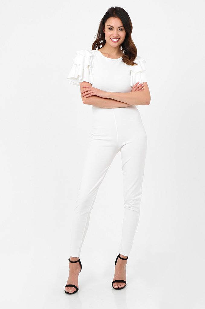 SSW2803-WHITE FRILL SLEEVE TIE NECK JUMPSUIT