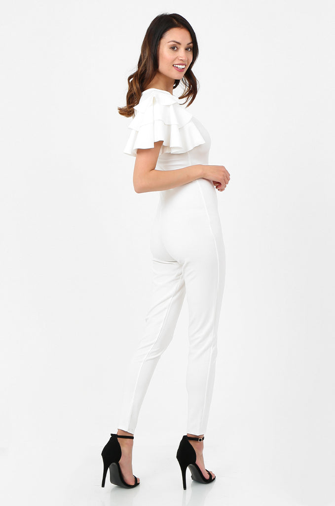SSW2803-WHITE FRILL SLEEVE TIE NECK JUMPSUIT view 2