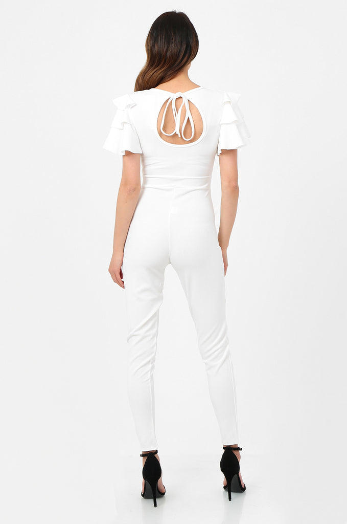 SSW2803-WHITE FRILL SLEEVE TIE NECK JUMPSUIT view 3