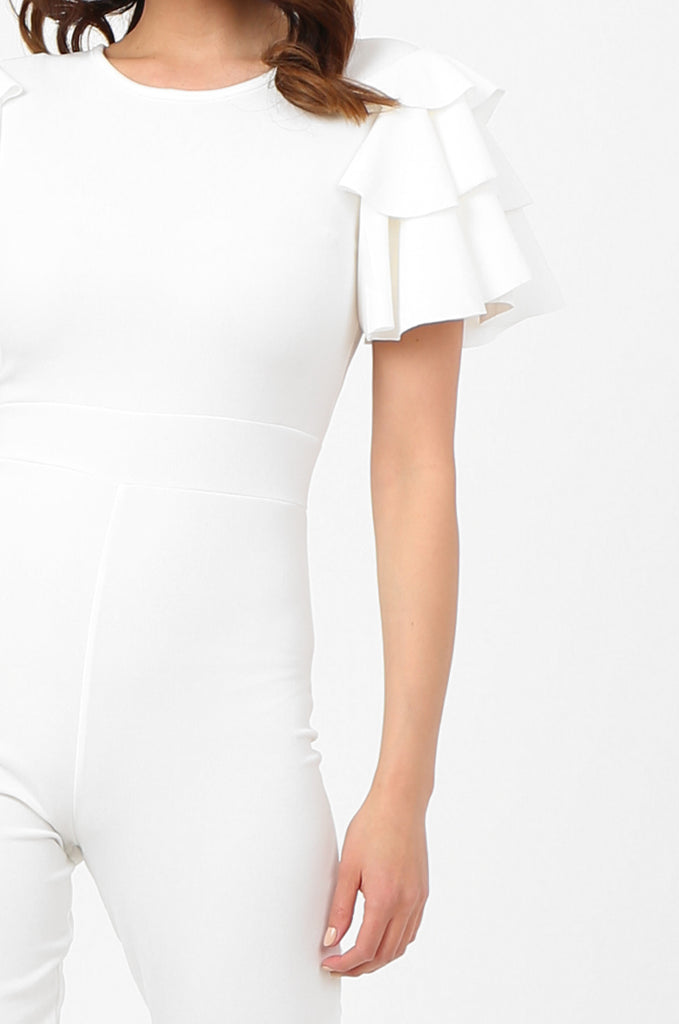 SSW2803-WHITE FRILL SLEEVE TIE NECK JUMPSUIT view 4