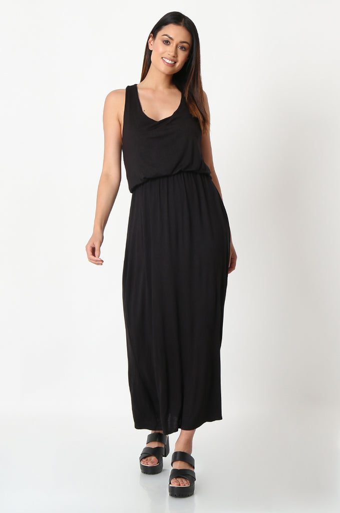 SSW2827-BLACK GATHERED WAIST MAXI DRESS