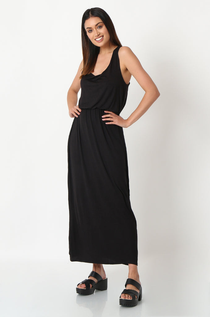 SSW2827-BLACK GATHERED WAIST MAXI DRESS view 2