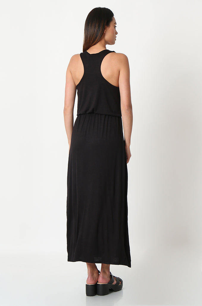 SSW2827-BLACK GATHERED WAIST MAXI DRESS view 3