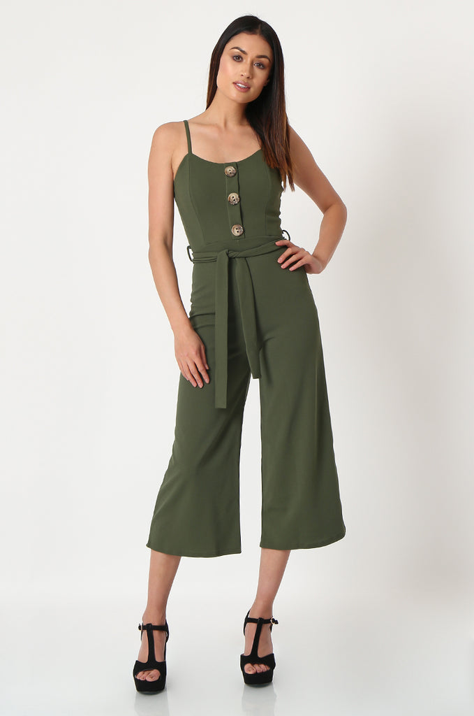 SSW2830-KHAKI BUTTON DETAIL BELTED JUMPSUIT view main view