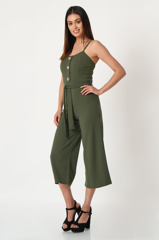 SSW2830-KHAKI BUTTON DETAIL BELTED JUMPSUIT view 2