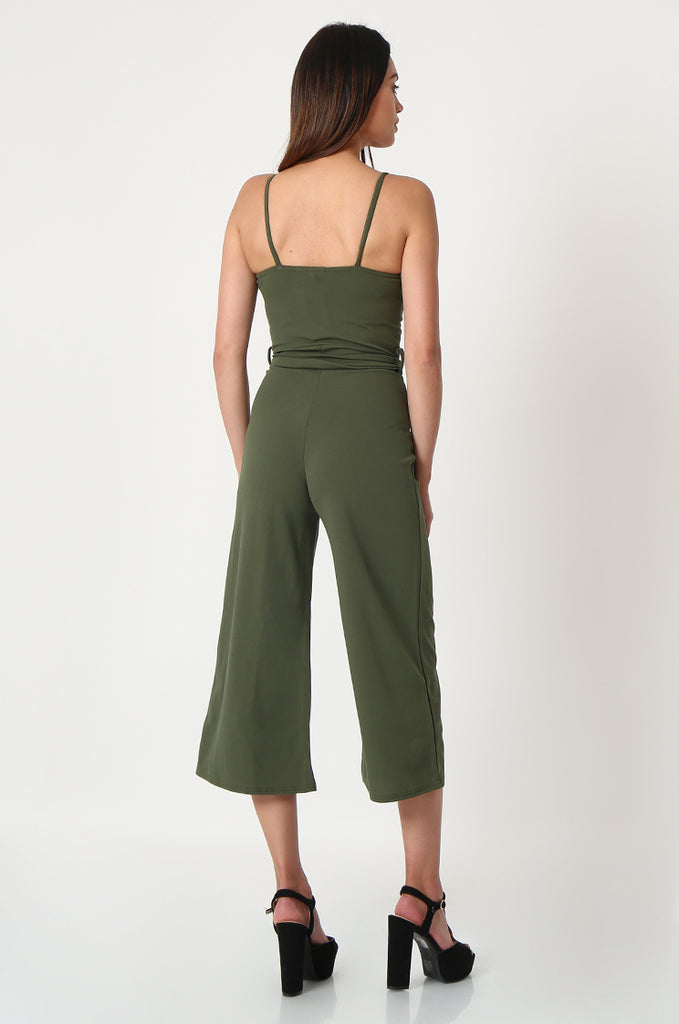 SSW2830-KHAKI BUTTON DETAIL BELTED JUMPSUIT view 3