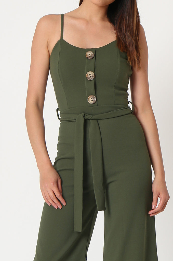 SSW2830-KHAKI BUTTON DETAIL BELTED JUMPSUIT view 4