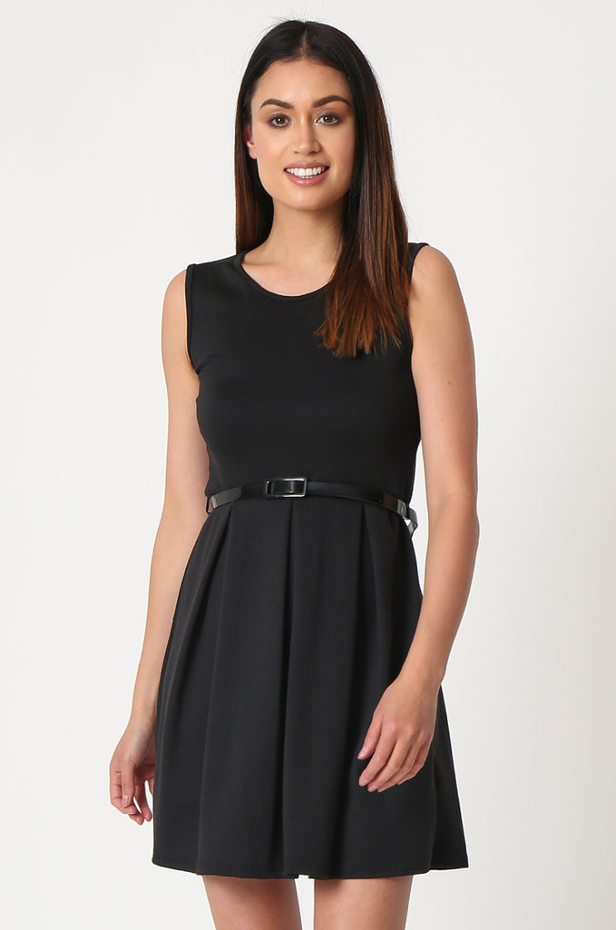 SSW2832-BLACK PATENT BELT PLEATED SKATER DRESS view 2