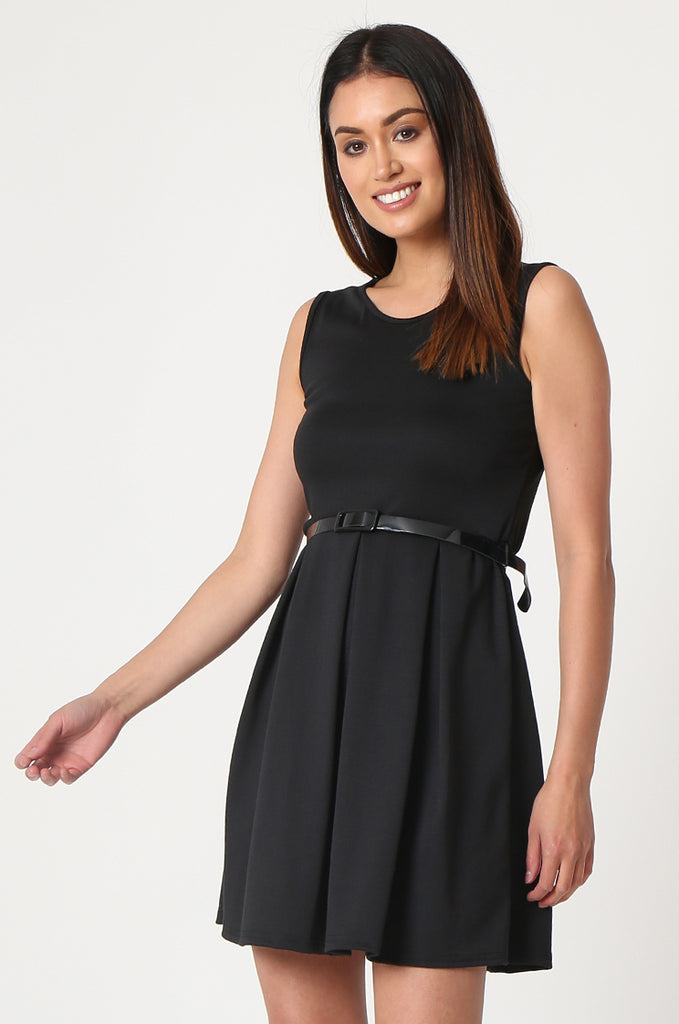 SSW2832-BLACK PATENT BELT PLEATED SKATER DRESS view 3