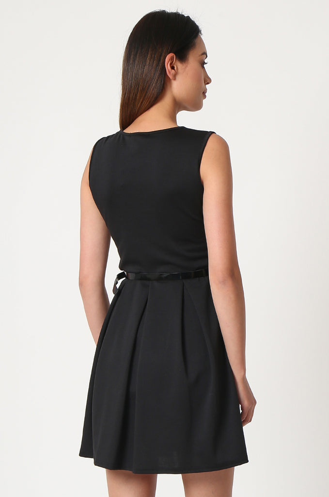 SSW2832-BLACK PATENT BELT PLEATED SKATER DRESS view 4