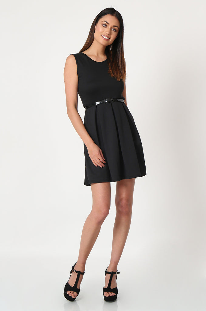SSW2832-BLACK PATENT BELT PLEATED SKATER DRESS