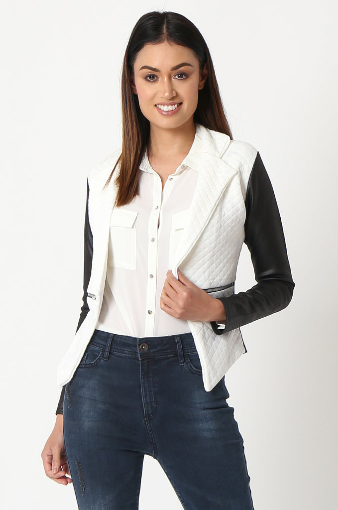 SSW2834-WHITE QUILTED CONTRAST SLEEVE ZIP POCKET BLAZER